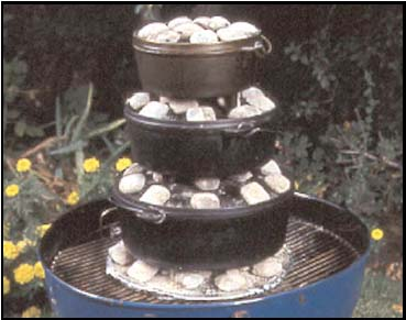 Stack multiple dutch ovens for easy and convenient cooking